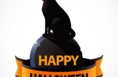 Halloween Witch Cat Vector