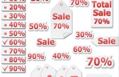 Red Sale Discount Label Set Vector
