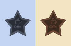 2 Colors Star Badges PSD
