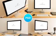 4 iMac Mockups PSD