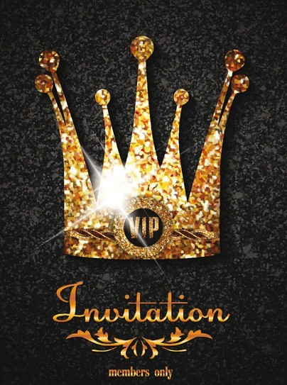 free royal crown invitation card template vector