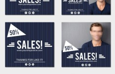 Blue Mens Sale Cards & Banners Vector