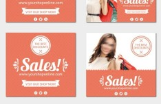 Pink Womens Sale Cards & Banners Vector