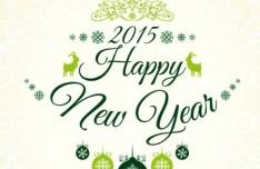 Fresh Green Happy New Year 2015 Background Vector