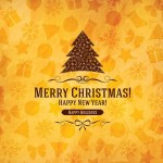 Elegant Orange Christmas & New Year Background Vector 01