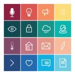 16 Flat Block UI Icons Vector