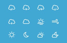 12 Weather Icons PSD
