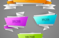 Colorful Abstract Origami Banner Vector Set