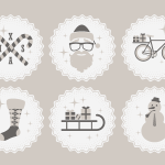 6 Hipster Christmas Vector Badges & Icons