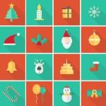 16 Flat Long Shadow Christmas Icons Vector