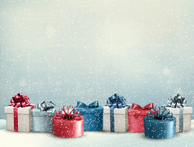Free Christmas Gifts With Snowfall Background Vector