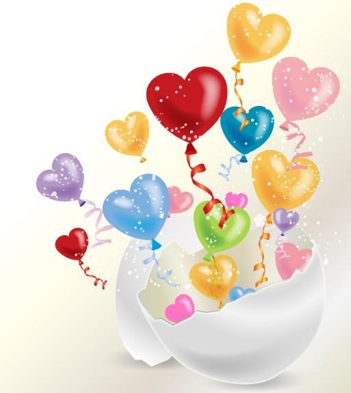 Free colorful heart balloons vector titanui - How to make heart balloon ...
