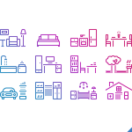 12 Gradient House Icons PSD