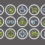 Flat City Shop Icon Set Vector
