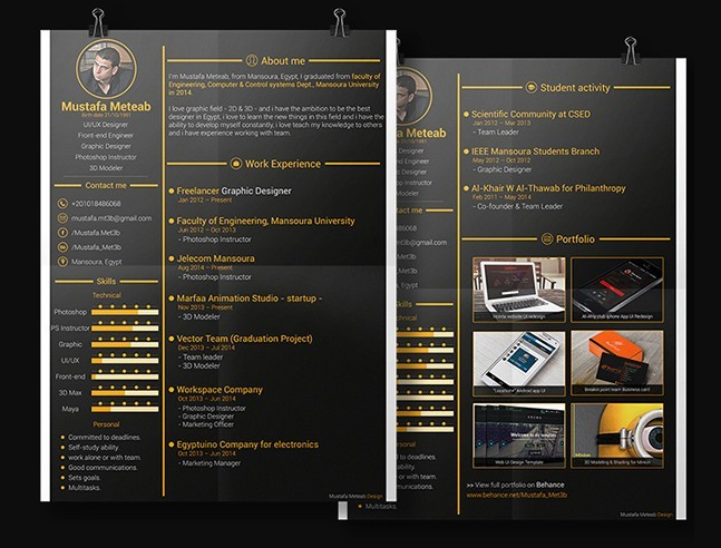 free dark gold resume  u0026 cv template psd
