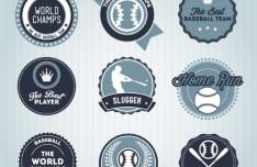 Blue Baseball Badge Set Vector