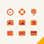9 Orange Travel Icons Vector