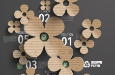 Brown Paper Flowers Background Vector
