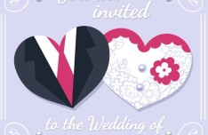 Creative Lover Heart Wedding Invitation Card Vector