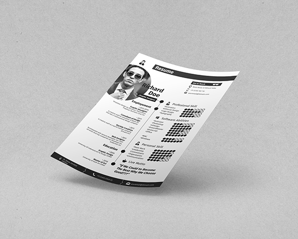free b w professional resume template psd   titanuib w professional resume template psd