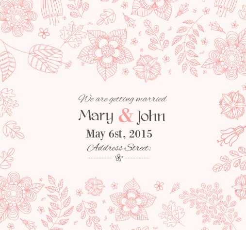 Free Red Flowers Wedding Invitation Card Template Vector - TitanUI