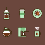 6 Coffee Icons Vector