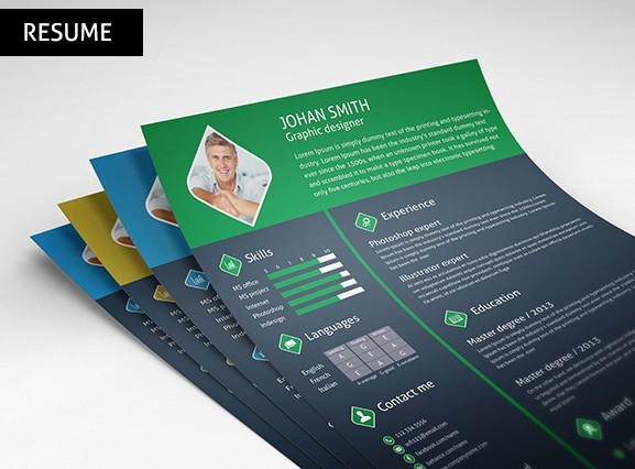 free 3 color resume    cv template psd