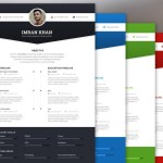 4 Color Modern Resume Template PSD