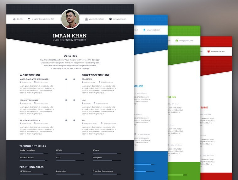 free 4 color modern resume template psd