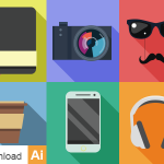 6 Flat Hipster Icons Vector