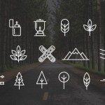 17 Wilderness Camping Icons Vector