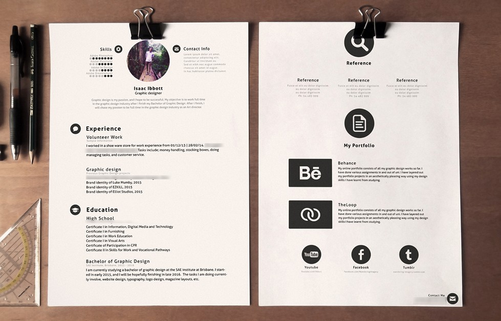 free clean stylish resume template psd
