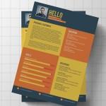 Flat Modern Resume / CV Template PSD
