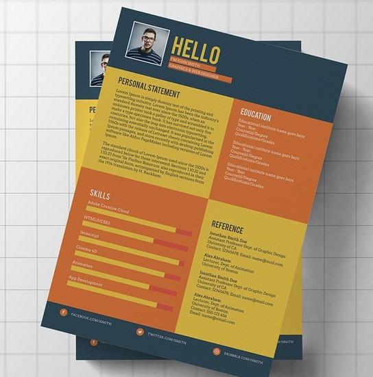 free flat modern resume    cv template psd