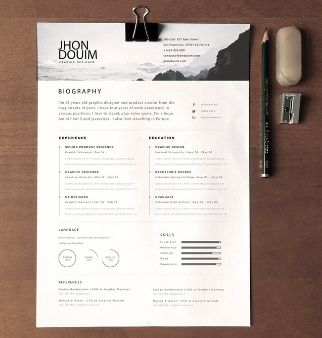 free clean realistic resume    cv template psd