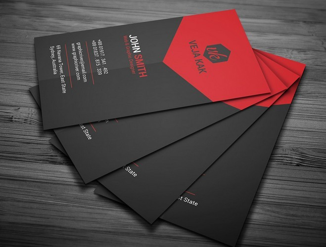 Free Black And Red Creative Business Card Template Psd