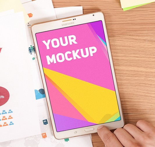 Free Samsung Galaxy Tab On Desk Mockup PSD - TitanUI