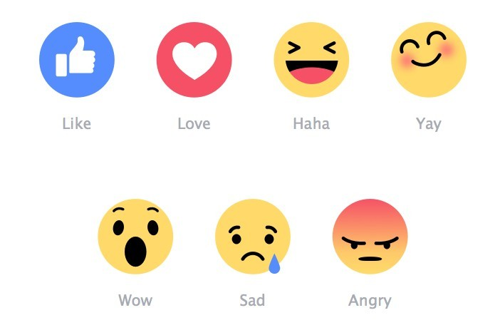 set of 7 facebook emoji icons representing like love haha yay