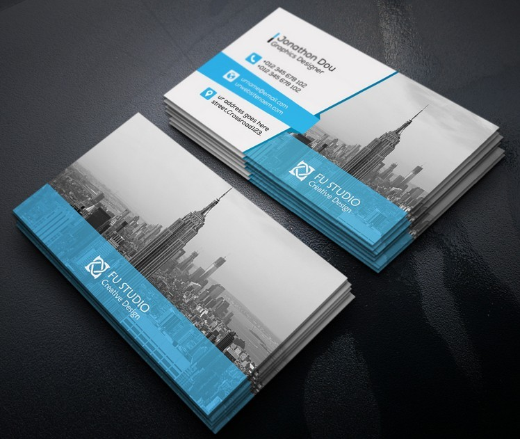 Free Creative Blue Amp Orange Business Card Templates Psd