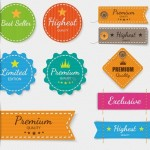 High Quality Colorful Labels Design Vector