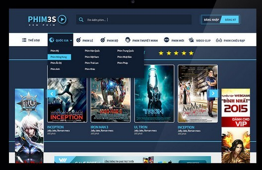 Free Phim3s Movie Website Template Psd Titanui