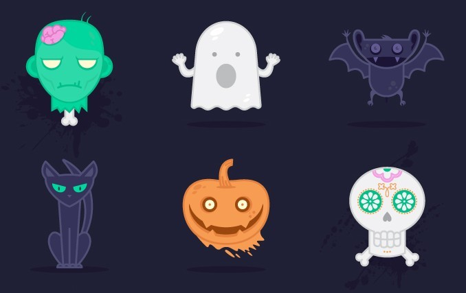 free 6 cute halloween vector icons