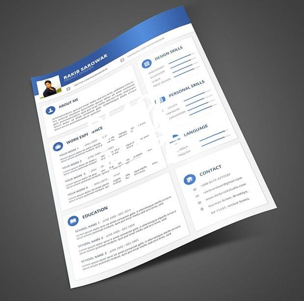 free blue material design resume mockup psd