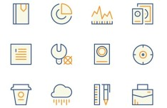 12 Outlined Random Icons Vector