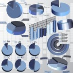 Blue Business Chart & Diagram Set Vector