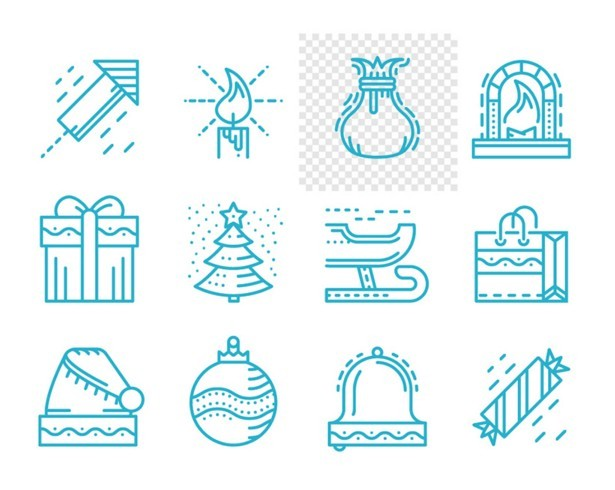 Free 12 Merry Christmas And Happy New Year Line Icons