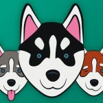 Husky Head Icons Vector