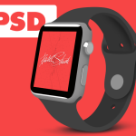 Flat Apple Watch 3 / 4 View Template PSD