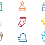 9 Minimal Merry Christmas Line Icons Vector