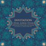 Vintage Blue Floral Invitation Pattern Background Vector